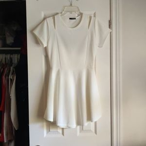 Cutout cap sleeve fit and flare white mini dress
